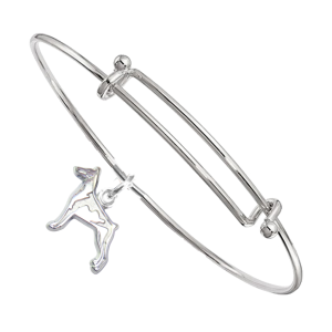 Sterling Silver Doberman Pinscher Charm on Bangle Bracelet