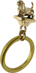Solid Bronze Basset Hound Key Ring - Front View