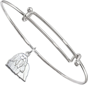 Sterling Silver Maltese Charm on Bangle Bracelet