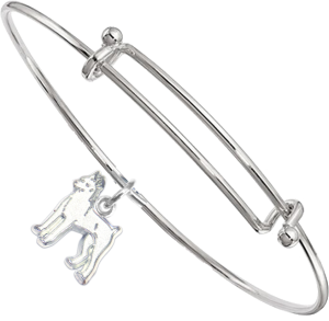 Sterling Silver Miniature Pinscher Charm on Bangle Bracelet
