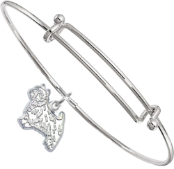 Sterling Silver Norwich Terrier Charm on Bangle Bracelet