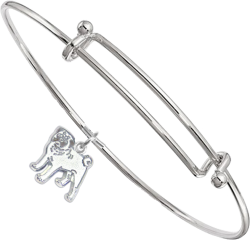 Sterling Silver Pug Charm on Bangle Bracelet