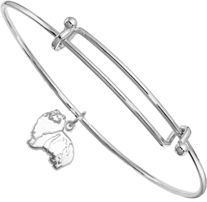 Sterling Silver Shetland Sheepdog - Sheltie - Charm on Bangle Bracelet
