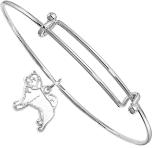 Sterling Silver Shiba Inu Charm on Bangle Bracelet