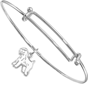 Sterling Silver Soft Coated Wheaten Terrier Charm on Bangle Bracelet