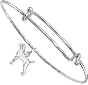 Sterling Silver Weimaraner Charm on Bangle Bracelet