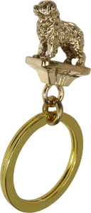 Solid Bronze Bernese Mountain Dog Key Ring - Front View