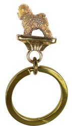 Solid Bronze Bichon Frise Key Ring