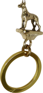 Solid Bronze Great Dane Key Ring - Front View