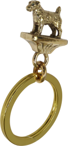 Solid Bronze Parson Russell Terrier Key Ring - Front View
