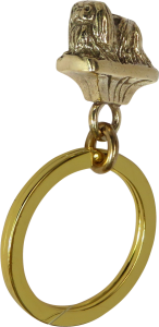 Solid Bronze Pekingese Key Ring - Front View