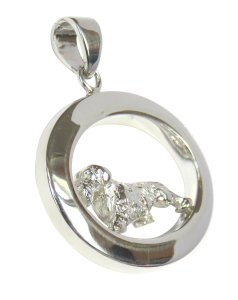 14K Gold or Sterling Silver Wire Dachshund in Glossy Oval Pendant