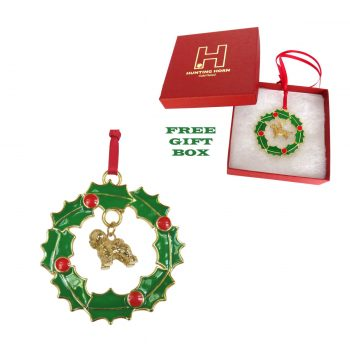 Exclusive Bichon Frise Gold Plated Bronze Christmas Holiday Wreath Ornament Decoration