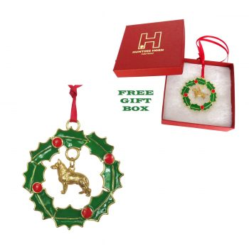 Exclusive German Shepherd Gold Plated Bronze Christmas Holiday Wreath Ornament Decoration
