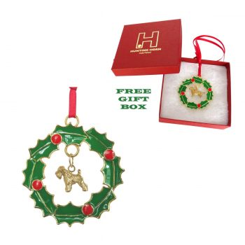 Exclusive Soft Coated Wheaten Gold Plated Bronze Christmas Holiday Wreath Ornament Decoration