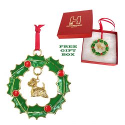 Exclusive West Highland Westie Gold Plated Bronze Christmas Holiday Wreath Ornament Decoration Gift