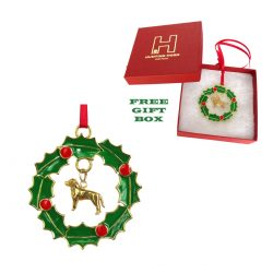 Exclusive Labrador Retriever Gold Plated Bronze Christmas Holiday Wreath Ornament Decoration