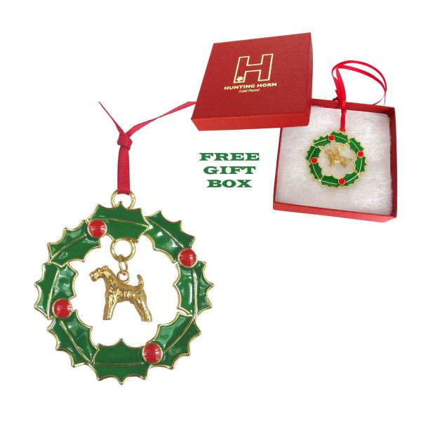 Exclusive Airedale Terrier Gold Plated Bronze Christmas Holiday Wreath Ornament Decoration