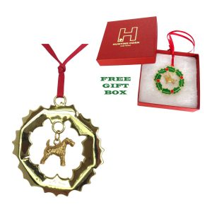 14K Gold Plated Wreath Ornament with 3D Airedale Terrier