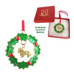 Exclusive Cavalier King Charles Gold Plated Bronze Christmas Holiday Wreath Ornament Decoration Gift