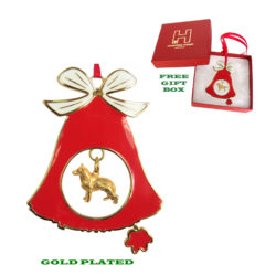 GERMAN SHEPHERD Gold Plated Bronze Christmas Holiday Bell Ornament