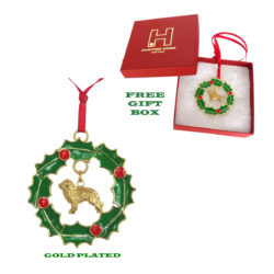 BERNESE MOUNTAIN DOG Gold Plated Bronze Christmas Holiday Wreath Ornament Decoration Gift