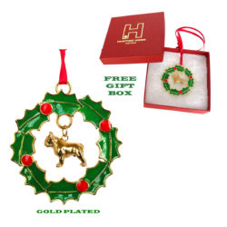 FRENCH BULLDOG Gold Plated Bronze Christmas Holiday Wreath Ornament Decoration