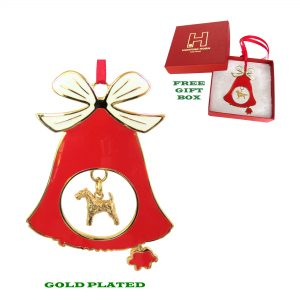 Airedale Terrier Gold Plated Bronze Christmas Holiday Bell Ornament Decoration Gift
