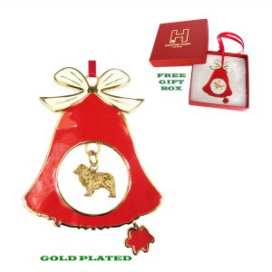 Australian Shepherd Gold Plated Bronze Christmas Holiday Bell Ornament Decoration Gift