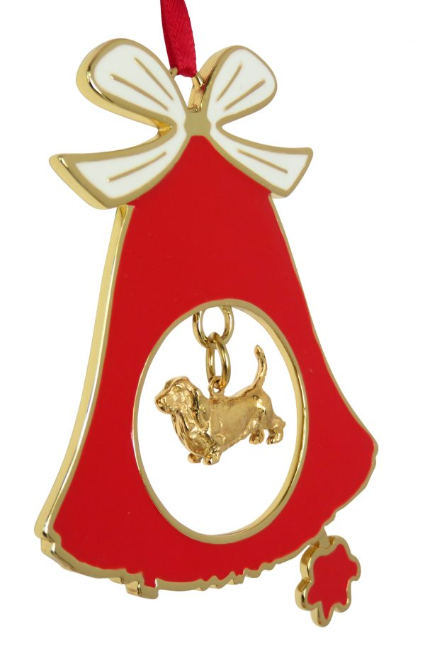 Basset Hound Gold Plated Bronze Christmas Holiday Bell Ornament Decoration Gift