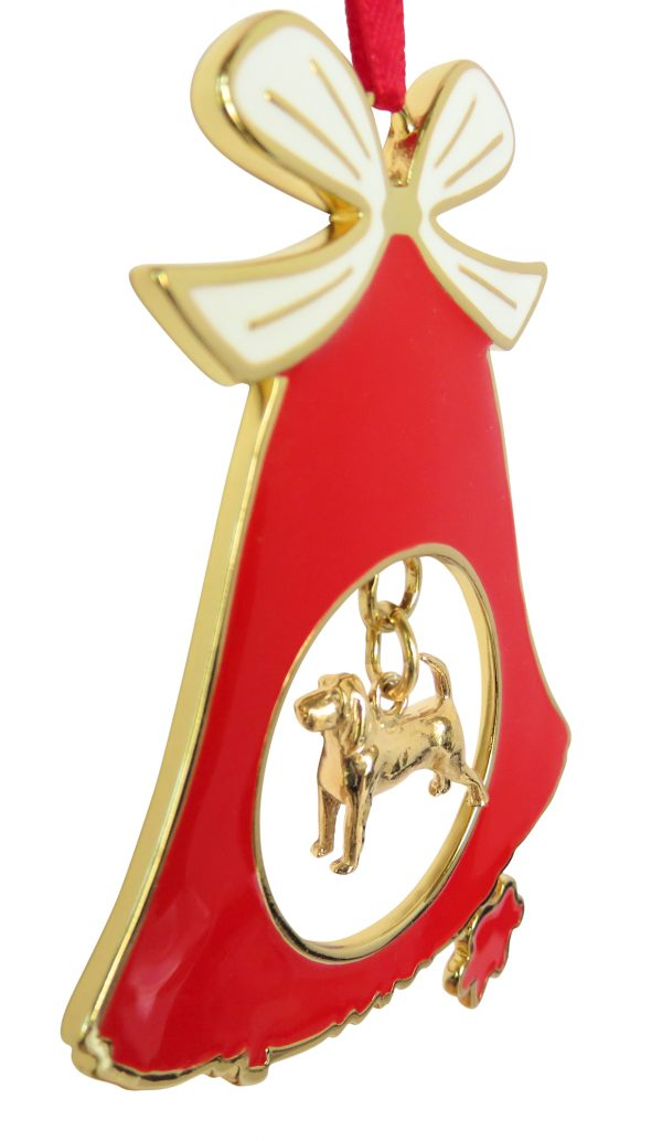 Beagle Gold Plated Bronze Christmas Holiday Bell Ornament Decoration Gift