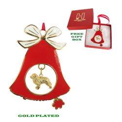 Bernese Mountain Dog Gold Plated Bronze Christmas Holiday Bell Ornament Decoration Gift