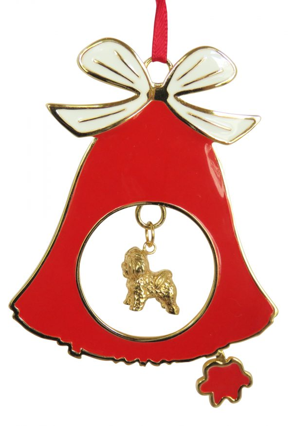 Bichon Frise Gold Plated Bronze Christmas Holiday Bell Ornament Decoration Gift