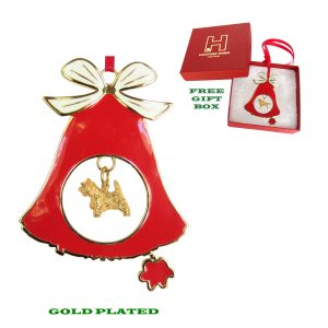 Cairn Terrier Gold Plated Bronze Christmas Holiday Bell Ornament Decoration Gift