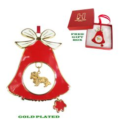 Cavalier King Charles Spaniel Gold Plated Bronze Christmas Holiday Bell Ornament Decoration Gift