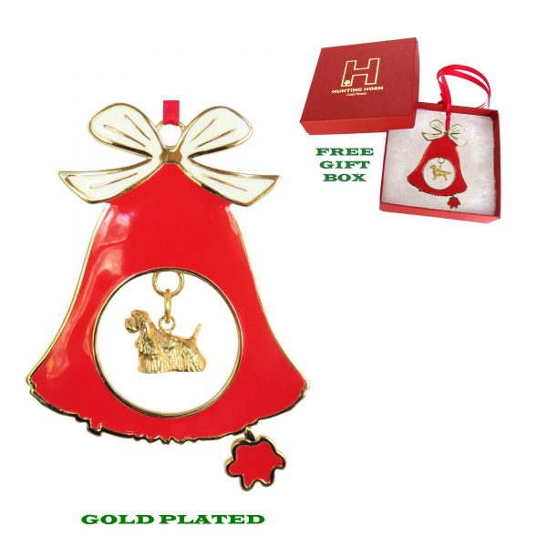 Cocker Spaniel Gold Plated Bronze Christmas Holiday Bell Ornament Decoration Gift