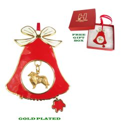 Rough Collie Gold Plated Bronze Christmas Holiday Bell Ornament Decoration Gift