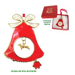 Smooth Dachshund Gold Plated Bronze Christmas Holiday Bell Ornament Decoration Gift