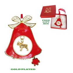 French Bulldog Gold Plated Bronze Christmas Holiday Bell Ornament Decoration Gift