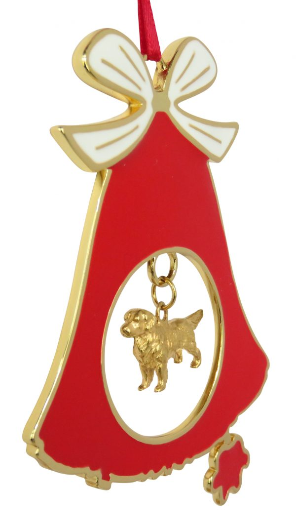 Golden Retriever Gold Plated Bronze Christmas Holiday Bell Ornament Decoration Gift