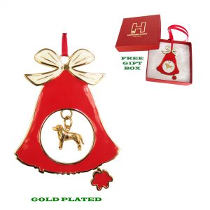 Labrador Retriever Gold Plated Bronze Christmas Holiday Bell Ornament Decoration Gift