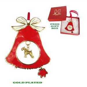 Miniature Schnauzer Gold Plated Bronze Christmas Holiday Bell Ornament Decoration Gift