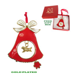 NEWFOUNDLAND Gold Plated Bronze Christmas Holiday Bell Ornament