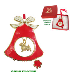 NORWICH TERRIER Gold Plated Bronze Christmas Holiday Bell Ornament