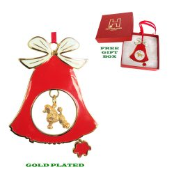Poodle Gold Plated Bronze Christmas Holiday Bell Ornament Decoration Gift