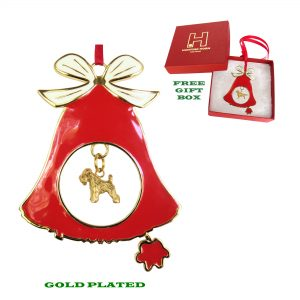 Soft Coated Wheaten Terrier Gold Plated Bronze Christmas Holiday Bell Ornament Decoration Gift