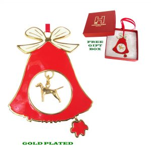 Vizsla Gold Plated Bronze Christmas Holiday Bell Ornament Decoration Gift