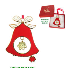 Exclusive DOG PAW Gold Plated Christmas Holiday BELL Ornament