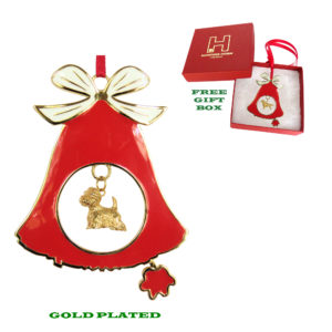 West Highland White Terrier Westie Gold Plated Enamel Christmas Holiday BELL Ornament