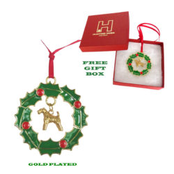 AIREDALE TERRIER Gold Plated Christmas Holiday WREATH Ornament
